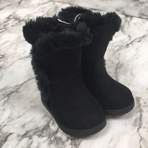 Baby Girl Suede Boots with Fur trim